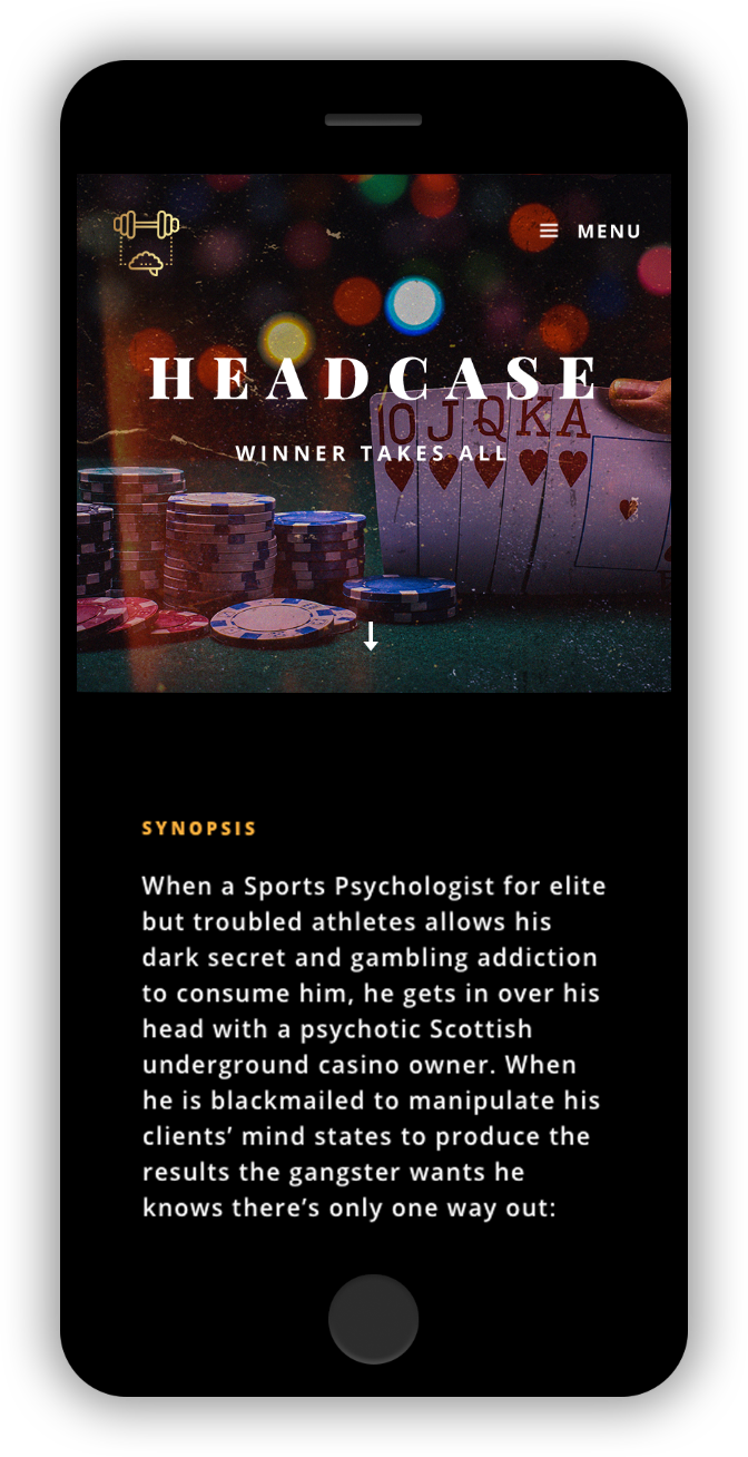 Headcase Script Homepage Design for TV Pilot