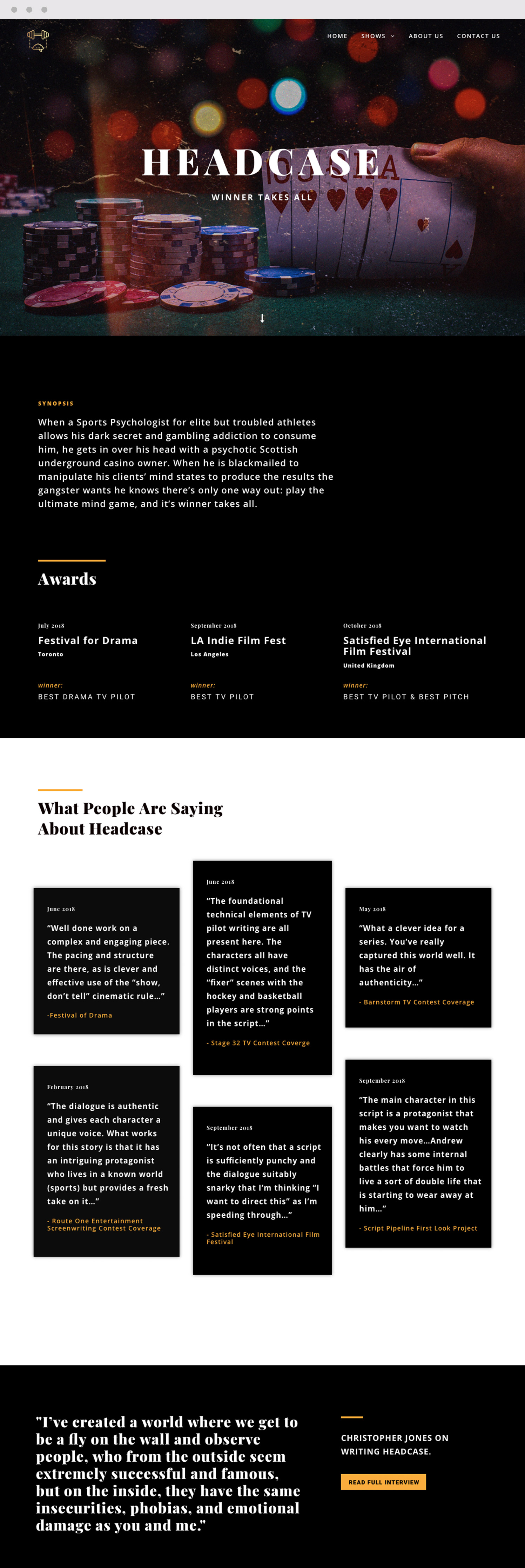 Headcase Production Company Script Website Design