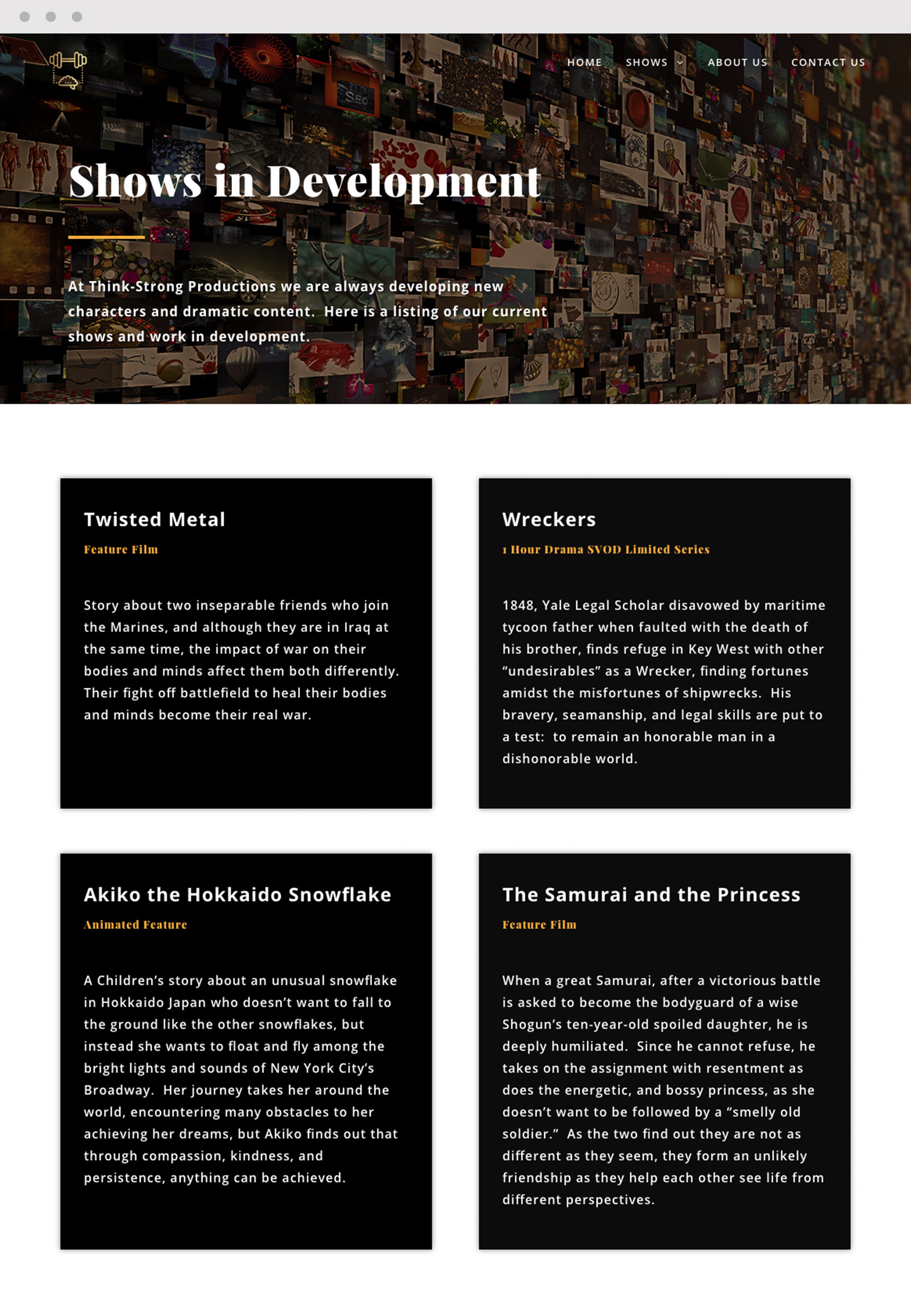Shows in Development Website Page Design