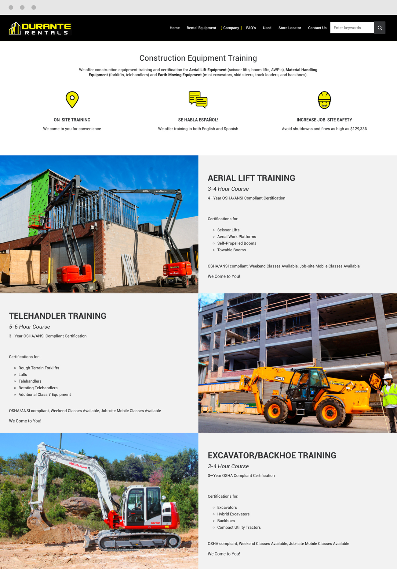 Construction Training & Certification Website Aerial Telehandler Excavator