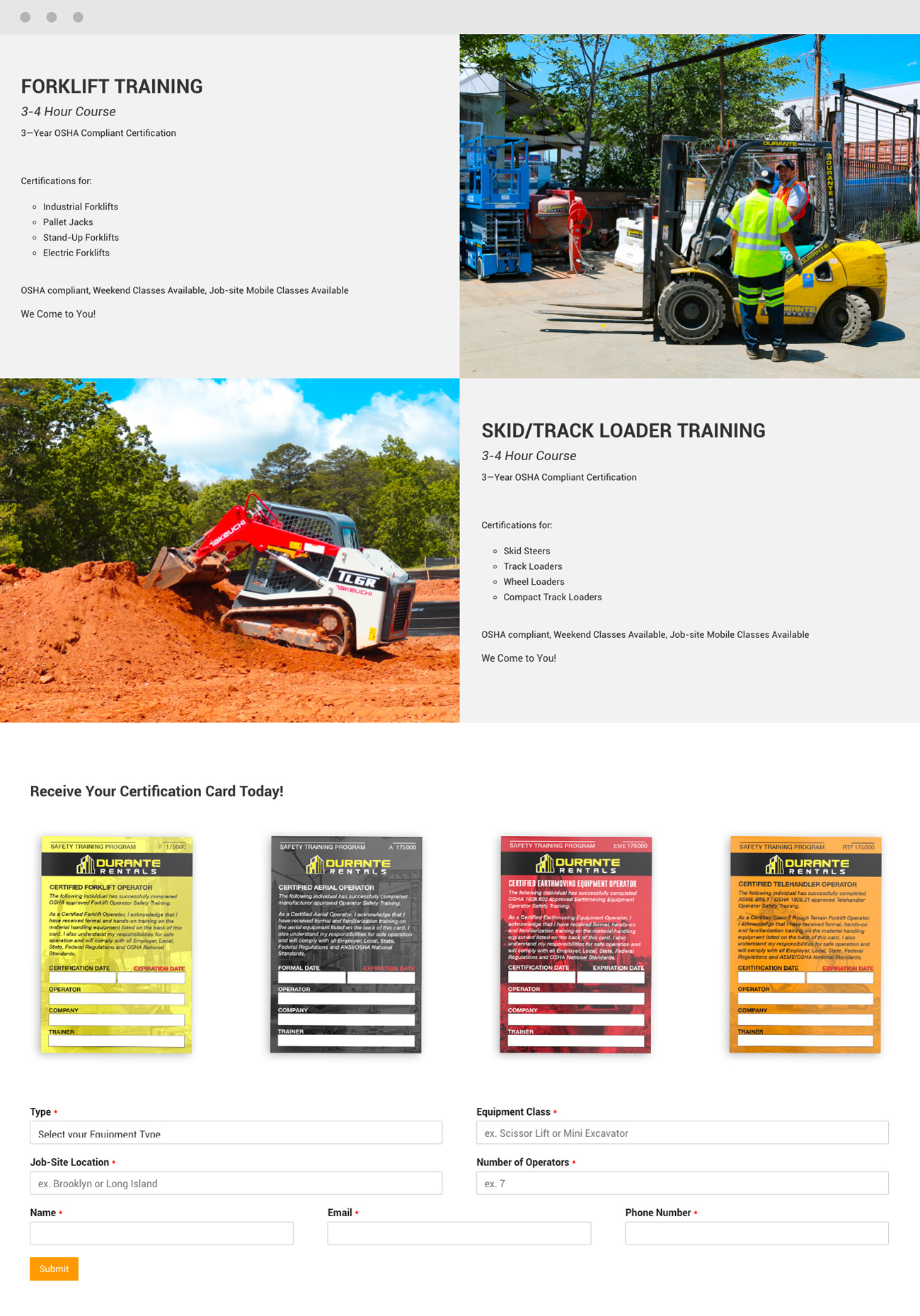 Construction Training & Certification Website Forklift and Track Loader Certification Card