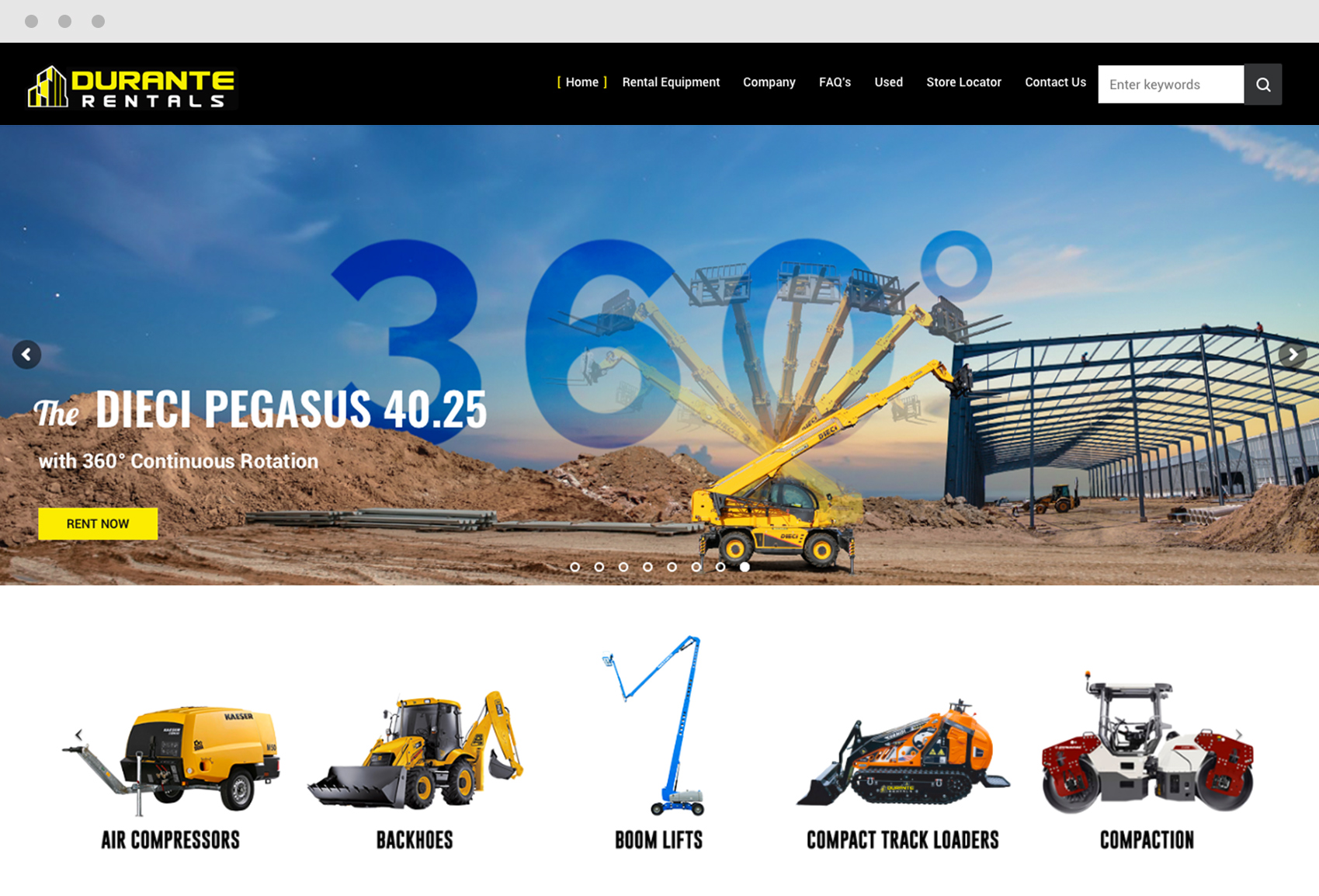 Construction Equipment Rental Company Website Design Durante Rentals