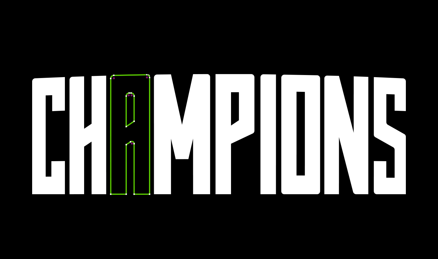 Champions Custom Typography Adobe Illustrator Anchor Points