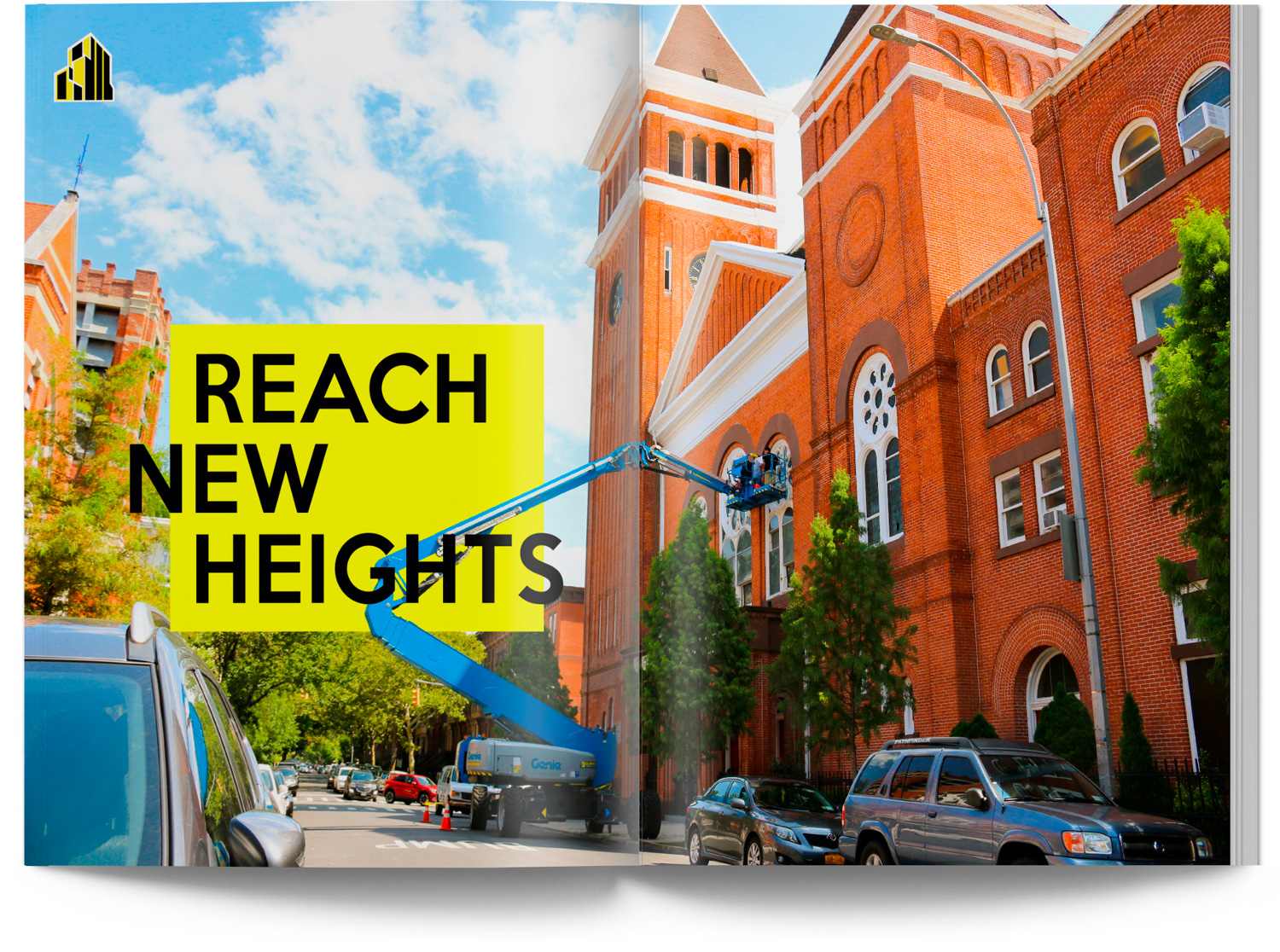 Genie Boom Lift in Brooklyn working on Church Design Catalog