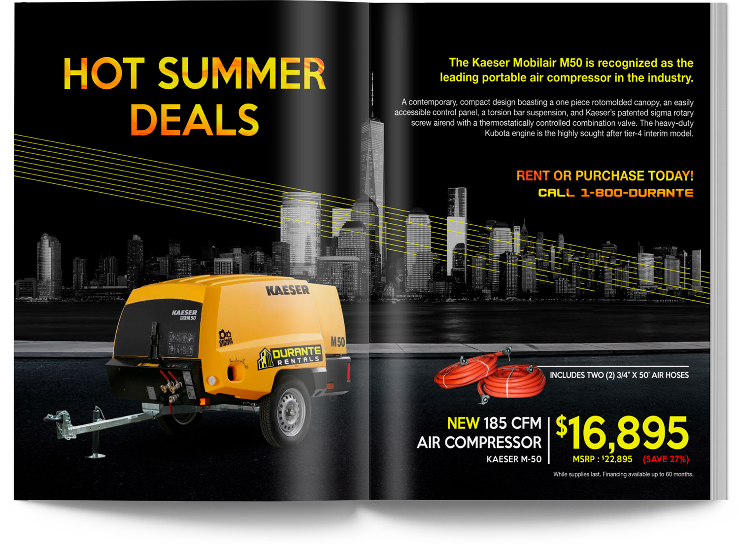 Catalog Sale Spread with New York Skyline and Compressor