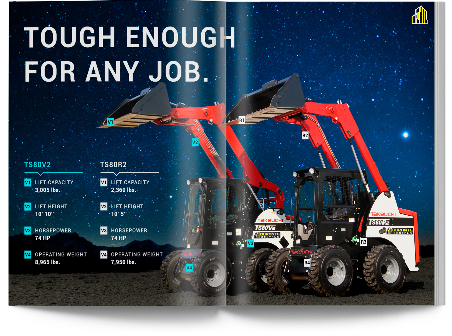 Takeuchi Skid Steer Catalog Spread Page in Space