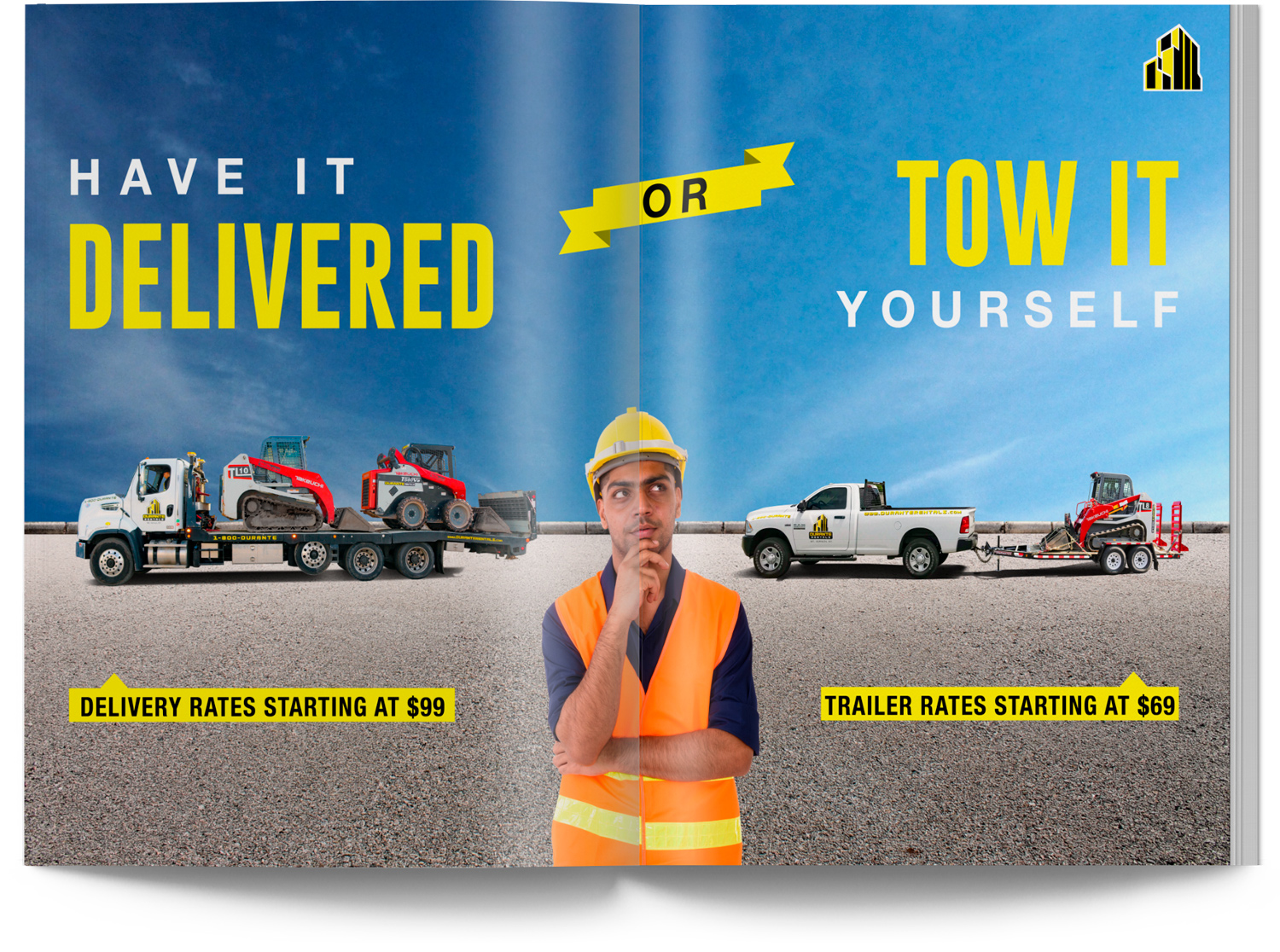 Construction Equipment Towmaster Trailers and Delivery Catalog Design