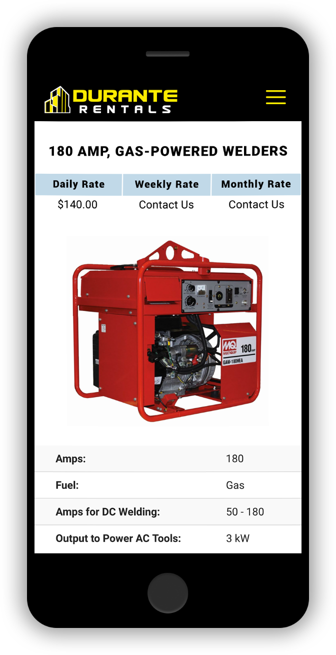 180 Amp Welder Rental Mobile Page