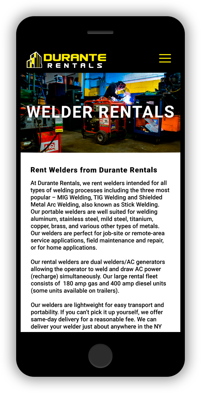 Welder Rentals Durante Rentals Mobile Website Design Construction