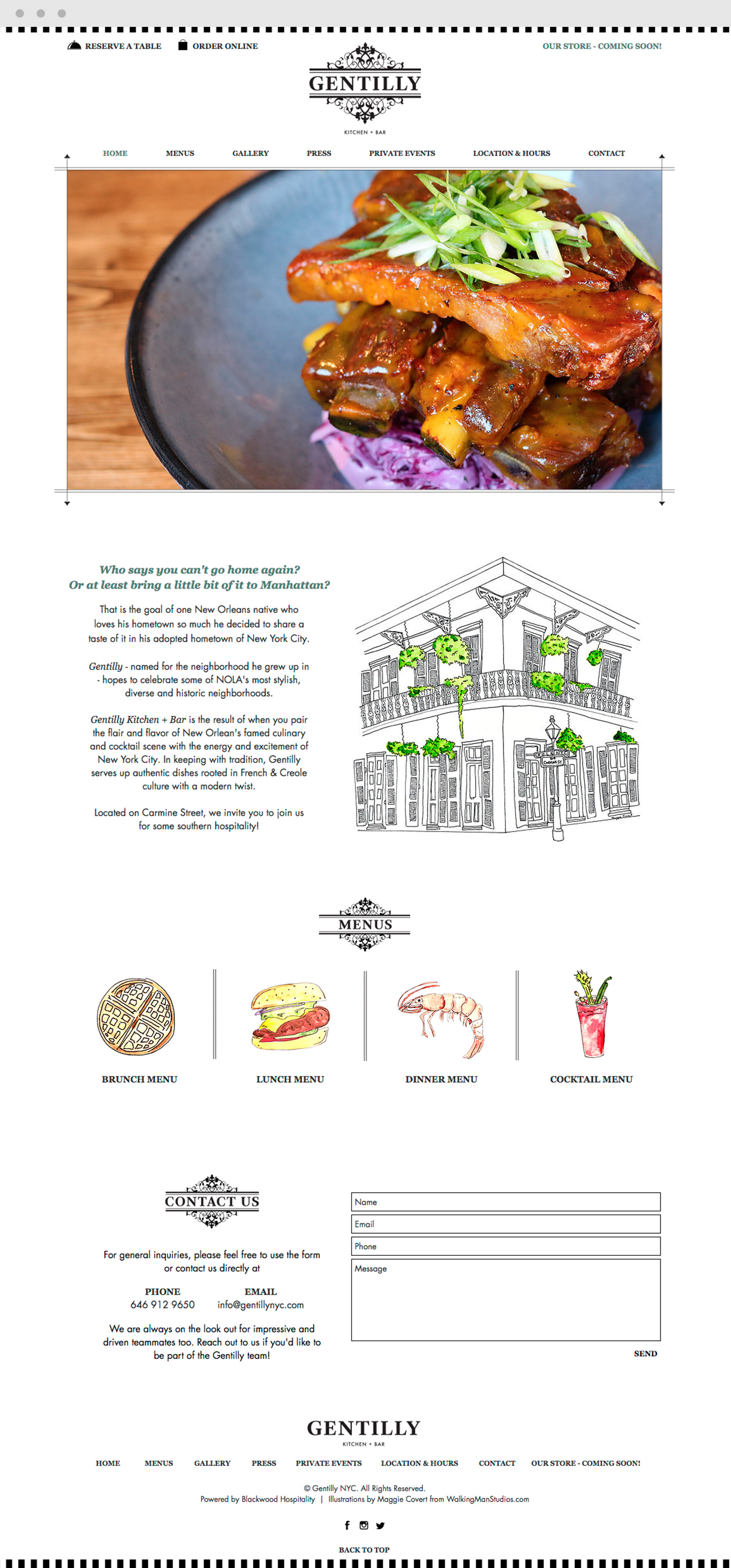Gentilly Restaurant Website Design