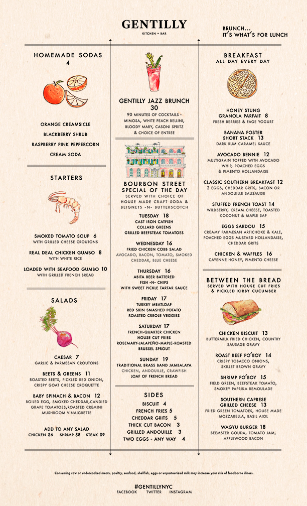 Gentilly Brunch Menu Lower West Side Creole and Southern