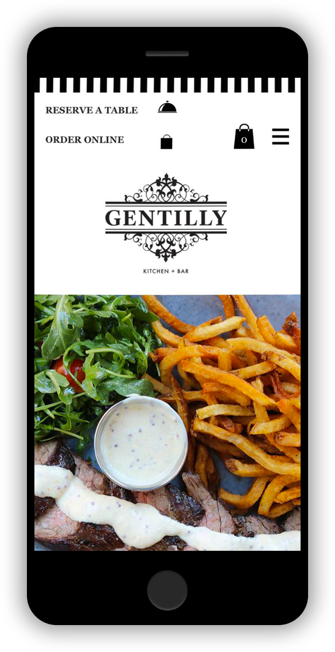 Gentilly Restaurant Mobile Design iPhone