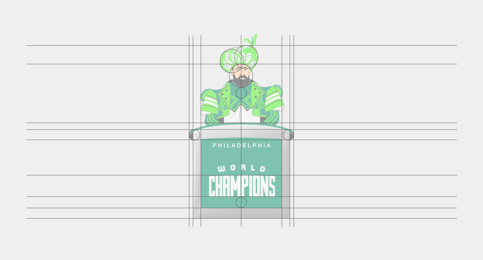 Jason Kelce Logo Illustration Grid Design