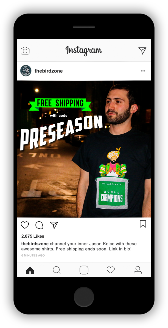 Instagram Philly Eagles Sponsored Ad with Free Shipping Code Jack Demarzo