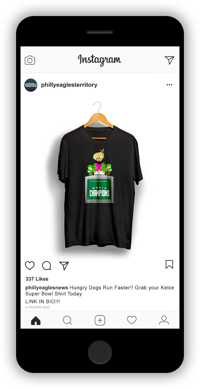 Jason Kelce T Shirt Mock Up on Instagram Minimal Iphone Illustration