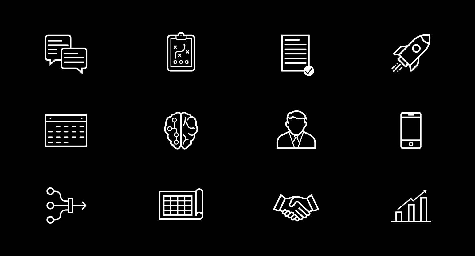 Icon Outline Set rocket, chat, calendar, brain, businessman, mobile, chart, blueprint, gameplan