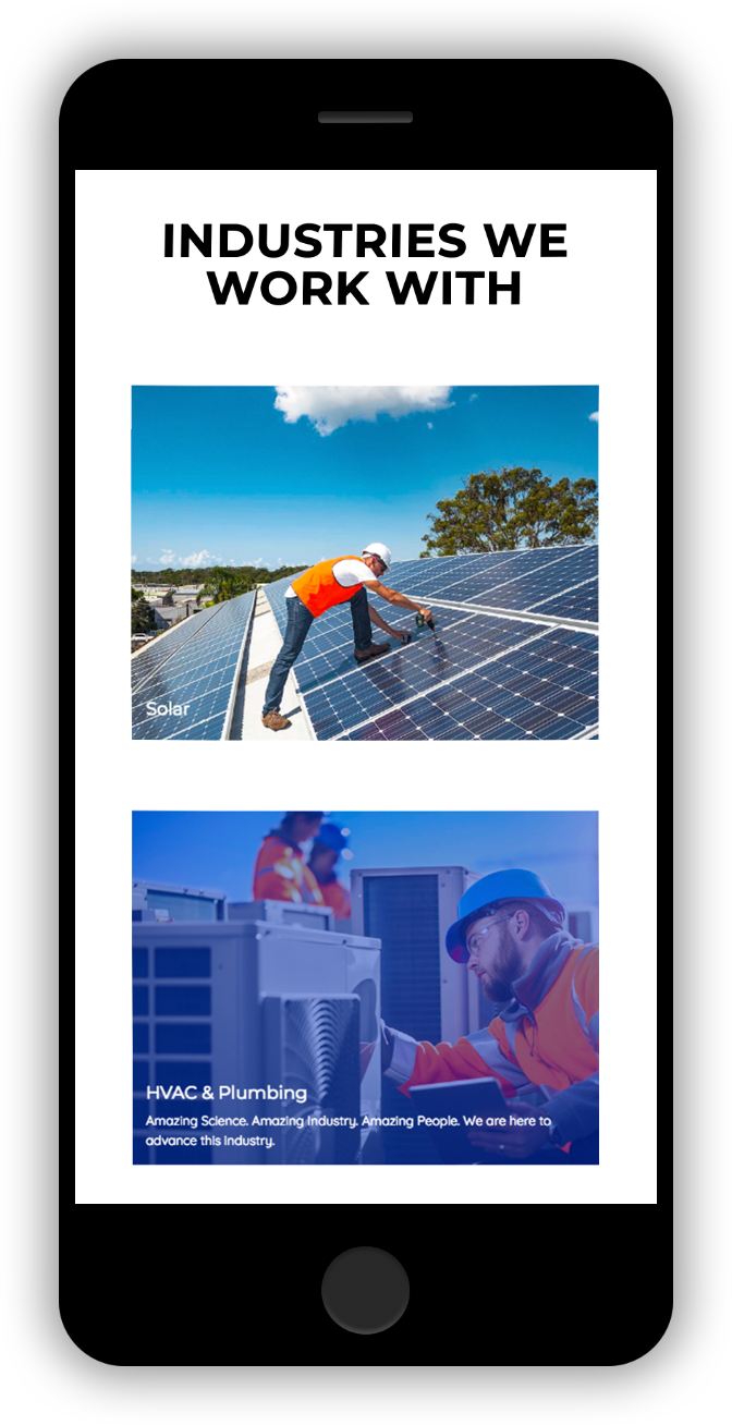 Industries we Work with Solar and HVAC mobile website