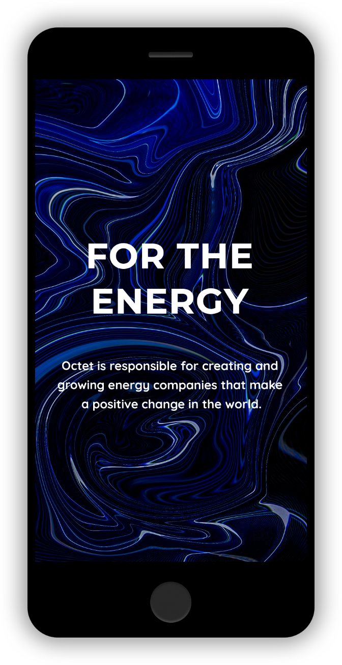 Mobile Homepage For the Energy Dark Blue and Black Space Pattern