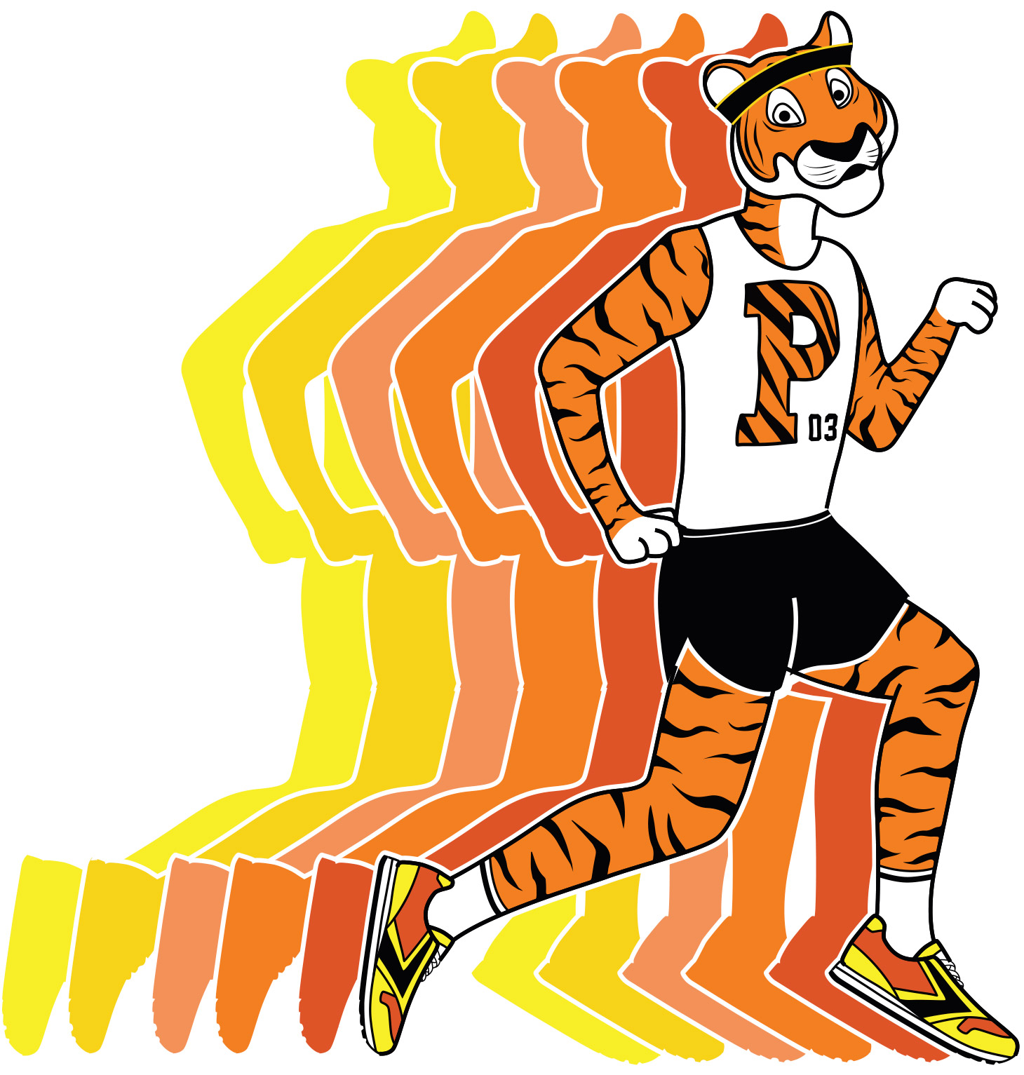 Running Tiger Illustration in Marathon