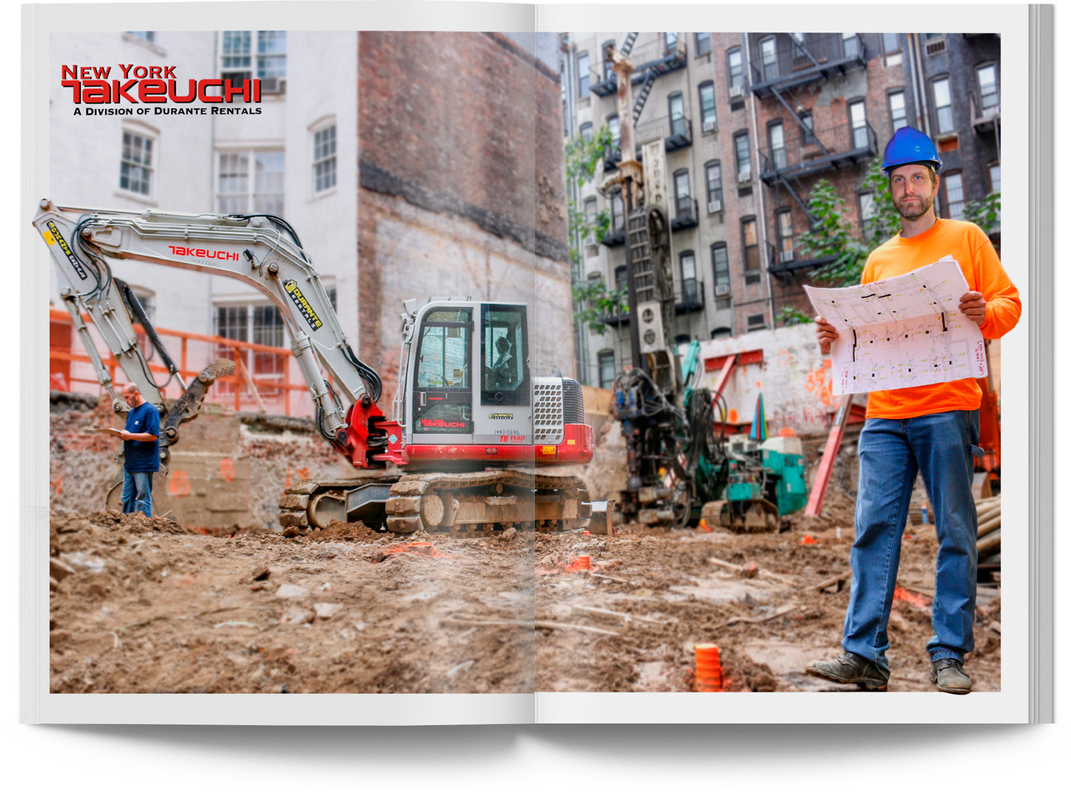 Man and Takeuchi Excavator on Construction Site in Manhattan NYC Catalog Spread with Blue Prints