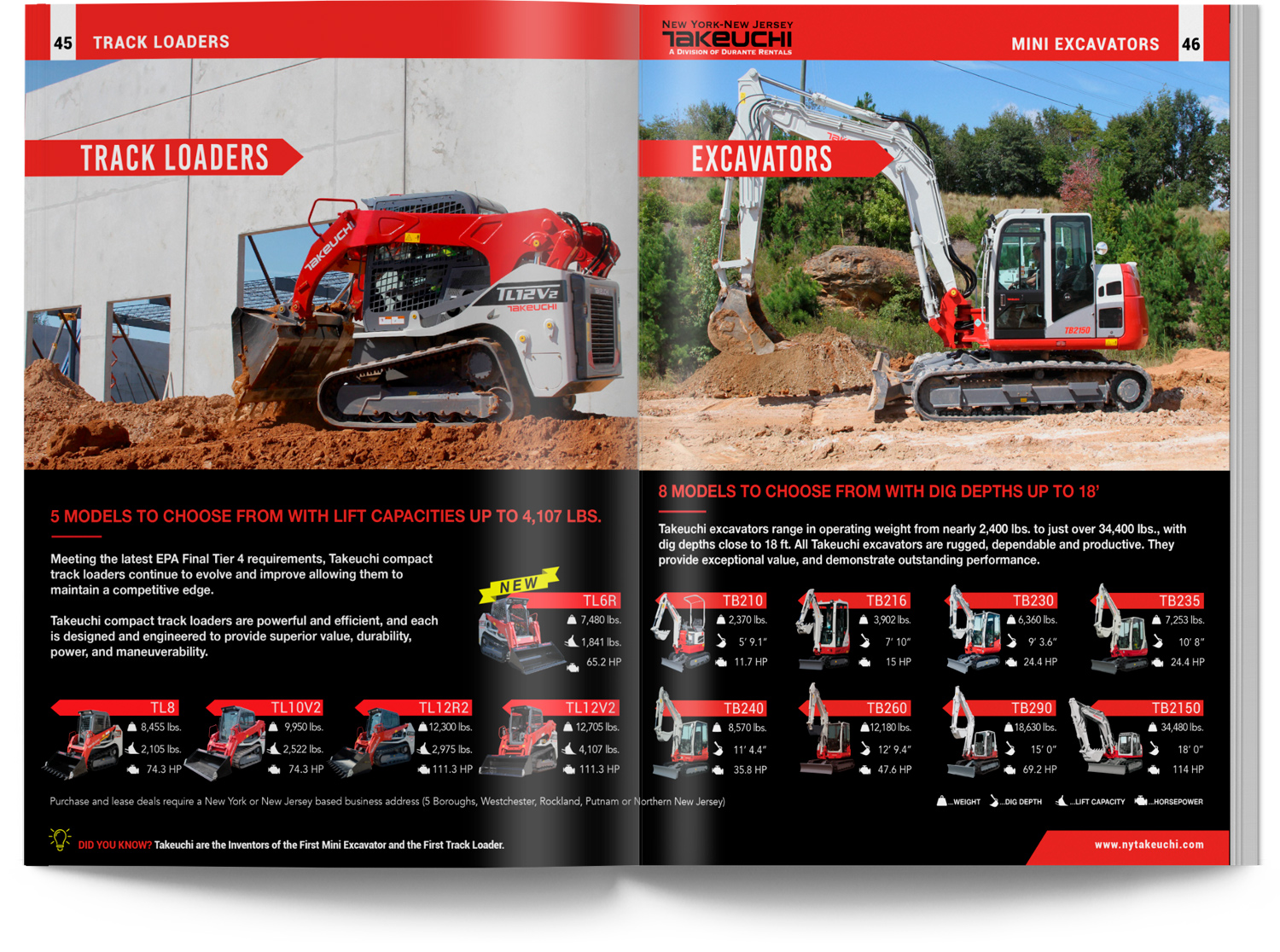 Takeuchi Track Loaders and Excavators Catalog Construction Equipment