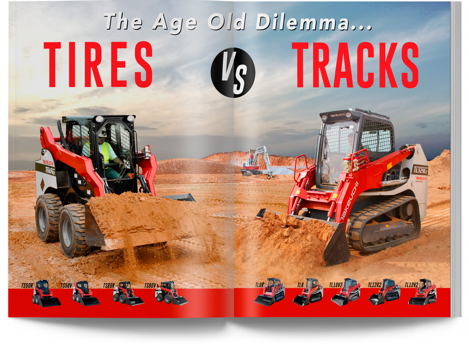 Tracks vs Tires Catalog Design NY Takeuchi