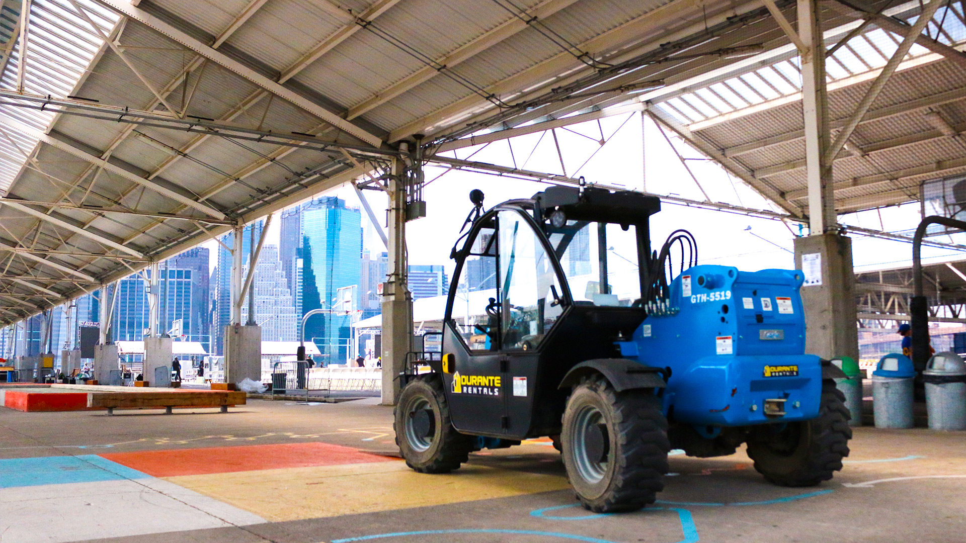 Genie Telehandler in Brooklyn Bridge Park Pier Basketball Courts